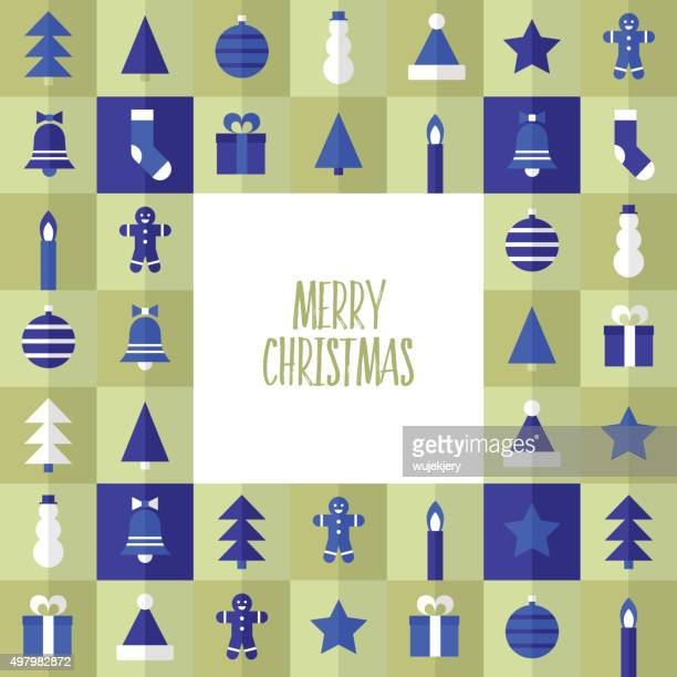 christmas card - flat vector Illustration