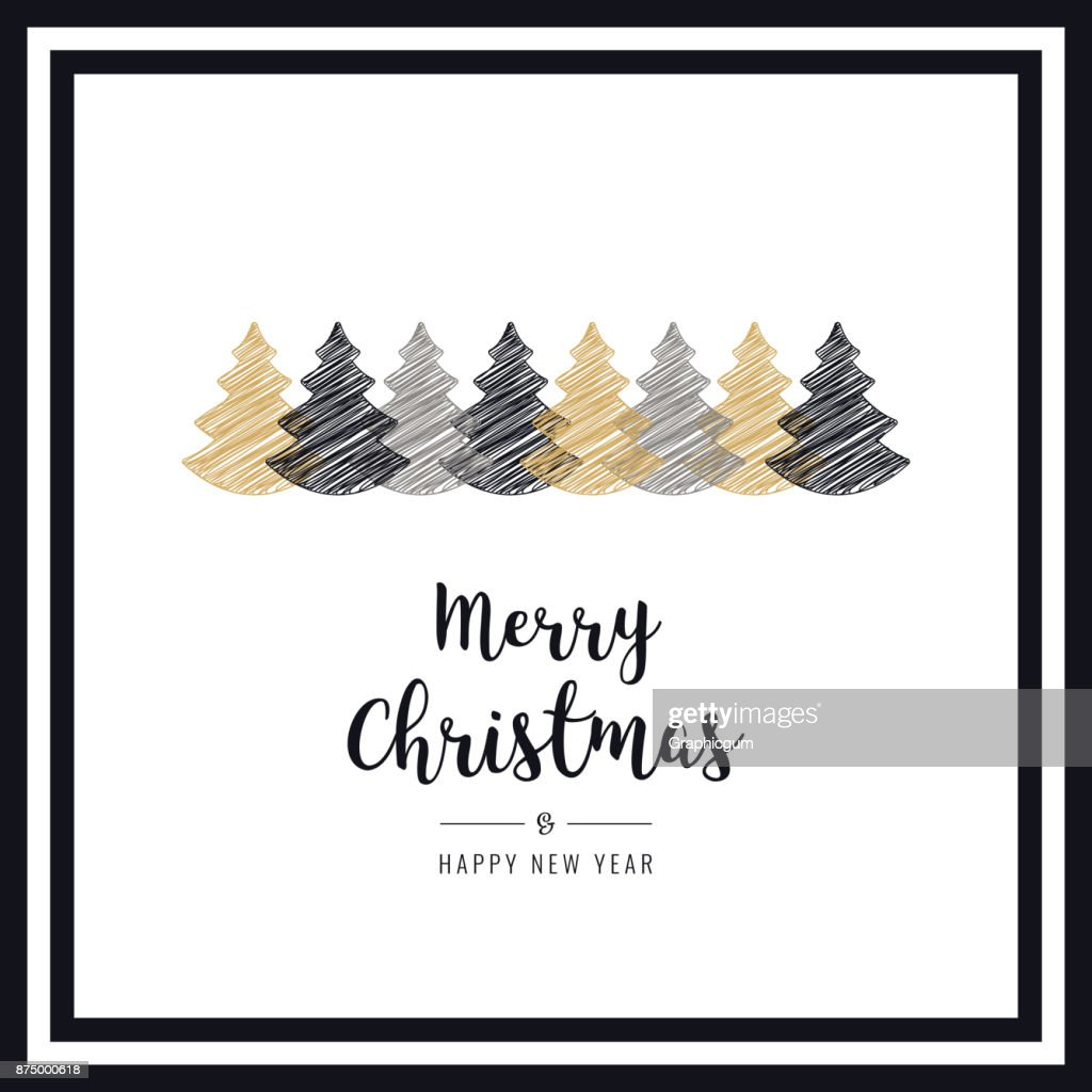 Christmas Card Frame Scribble Drawing Trees Greeting Text Vector Art