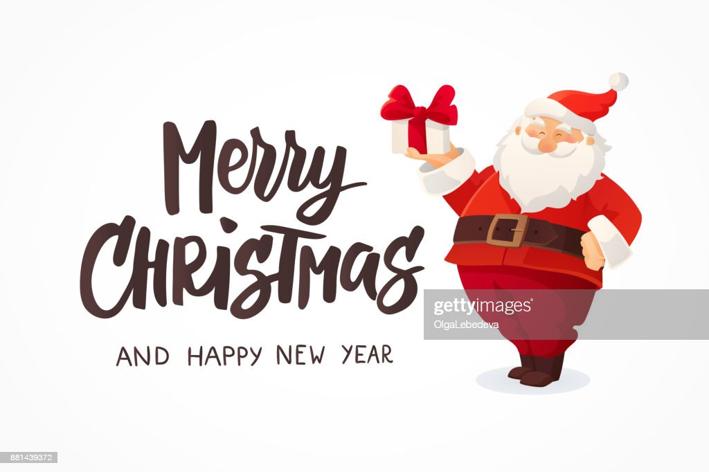 Christmas Card Funny Cartoon Santa Claus Holding Present With Bow In ...