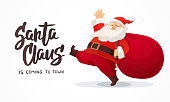 Christmas card. Funny cartoon Santa Claus with huge red bag with presents. Hand drawn text - Santa Claus is coming to town