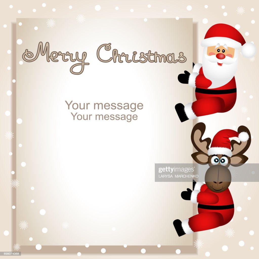 Christmas card. Funny postcard with Christmas moose and Santa.