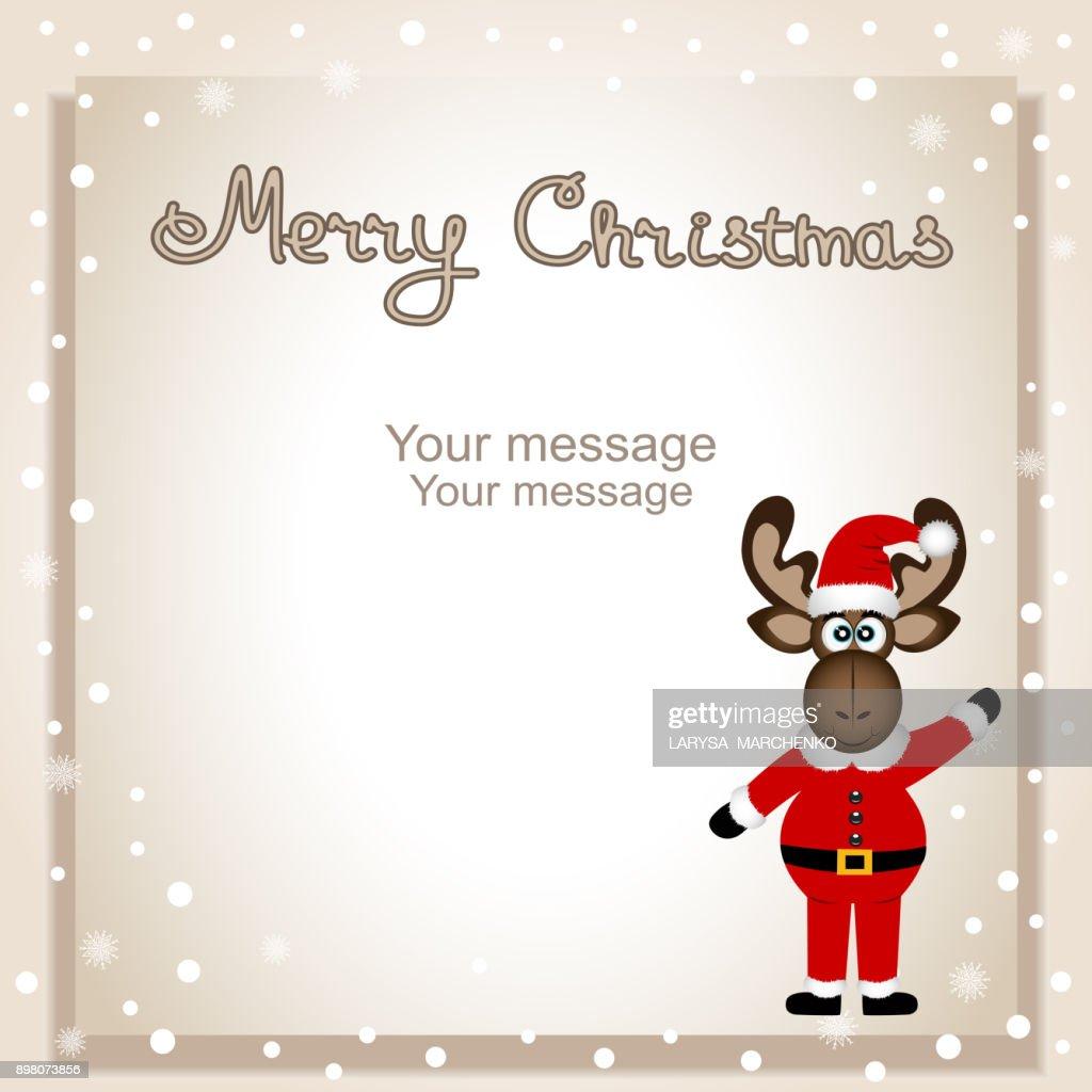 Christmas card. Funny postcard with Christmas moose.
