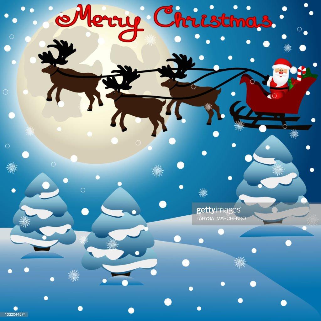 Christmas card. Funny postcard with Christmas reindeers and Santa.