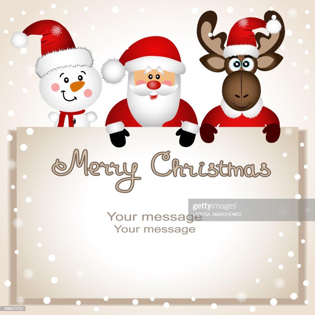 Christmas card. Funny postcard with snowman, Christmas moose and Santa.