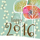 Christmas, card, happy new year, 2016, greeting card, tree, snow, winter