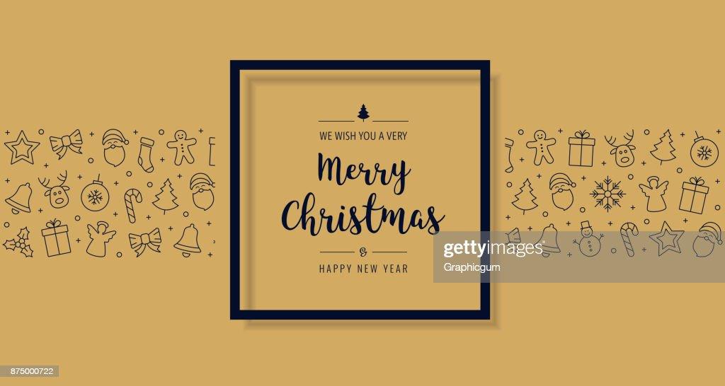 Weihnachtskarte Elemente Symboltext Gruß In Schwarz Goldenen ...