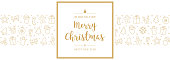 christmas card icon elements text greeting frame golden white background