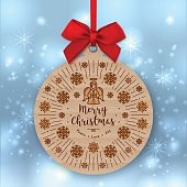 Christmas card, Kraft paper gift tag, Red bow, Winter background
