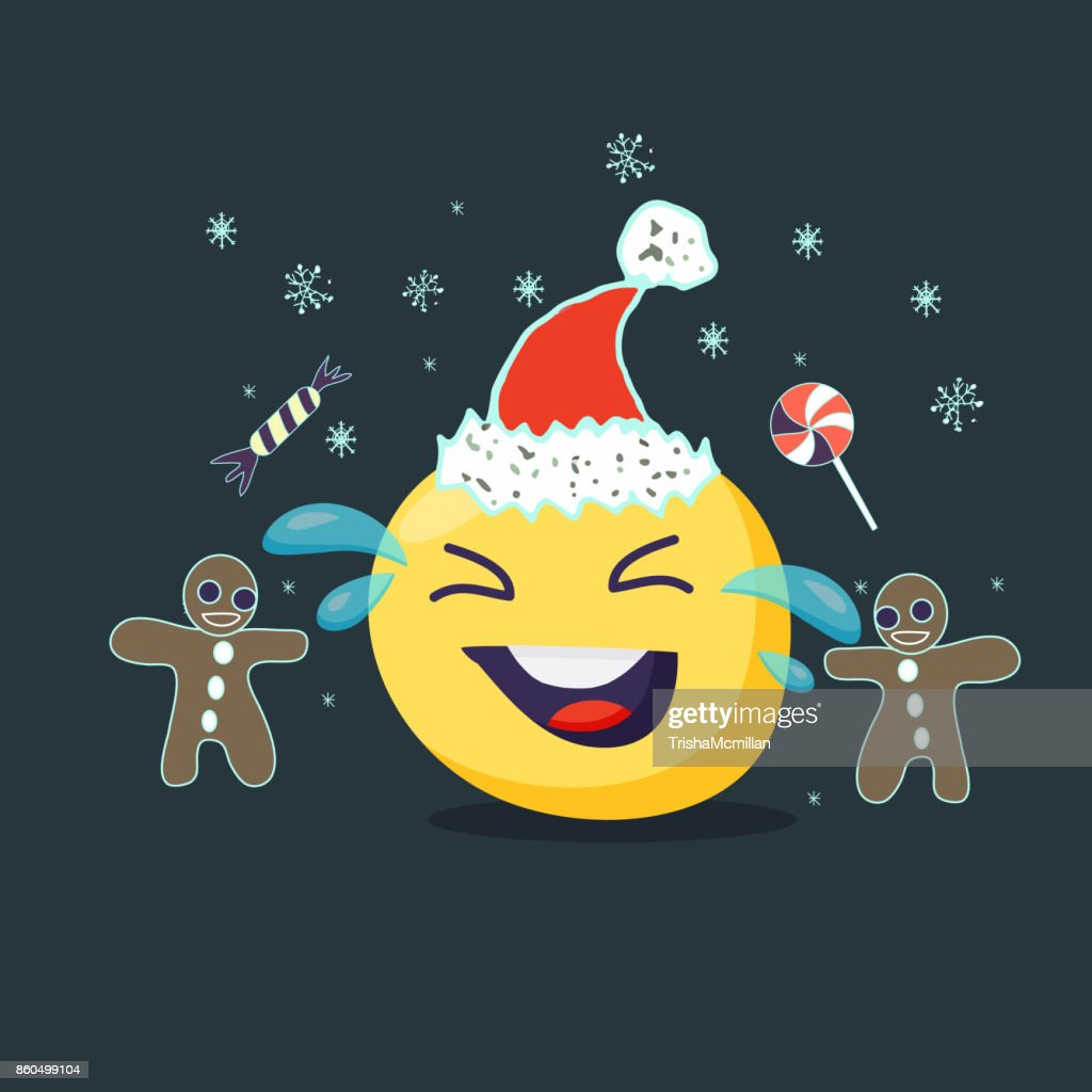 Christmas card. Laughing emoji character. Vector flat style.