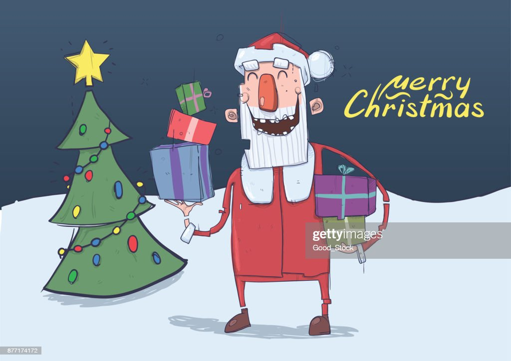 Christmas Card Of Funny Smiling Santa Claus Santa Carries Presents ...