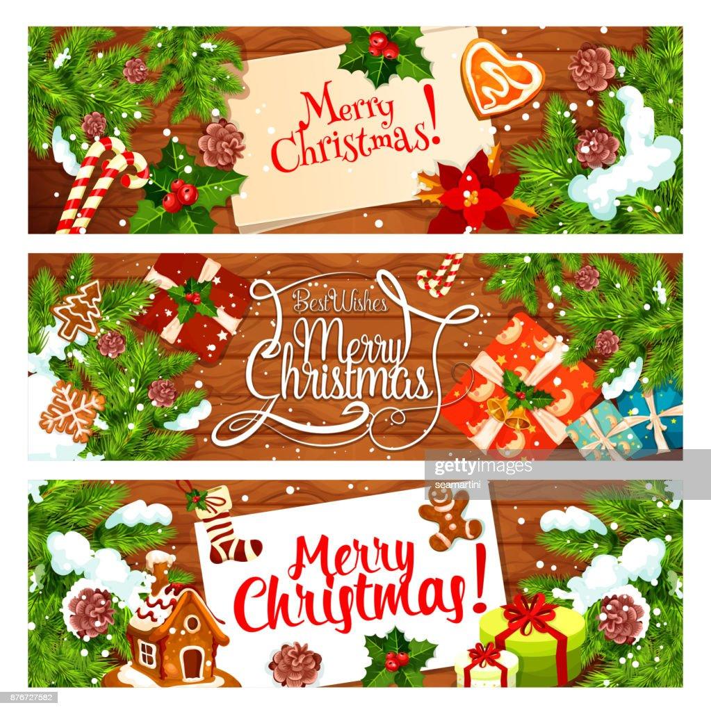 Christmas Card Of New Year Holiday Gift Xmas Tree Vector Art Getty