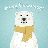 Christmas card of polar bear with scarf