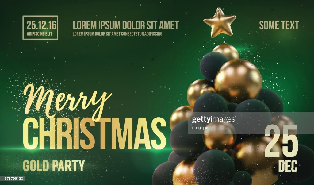 Christmas Card Or Flyer Template With Golden Christmas Tree Vector