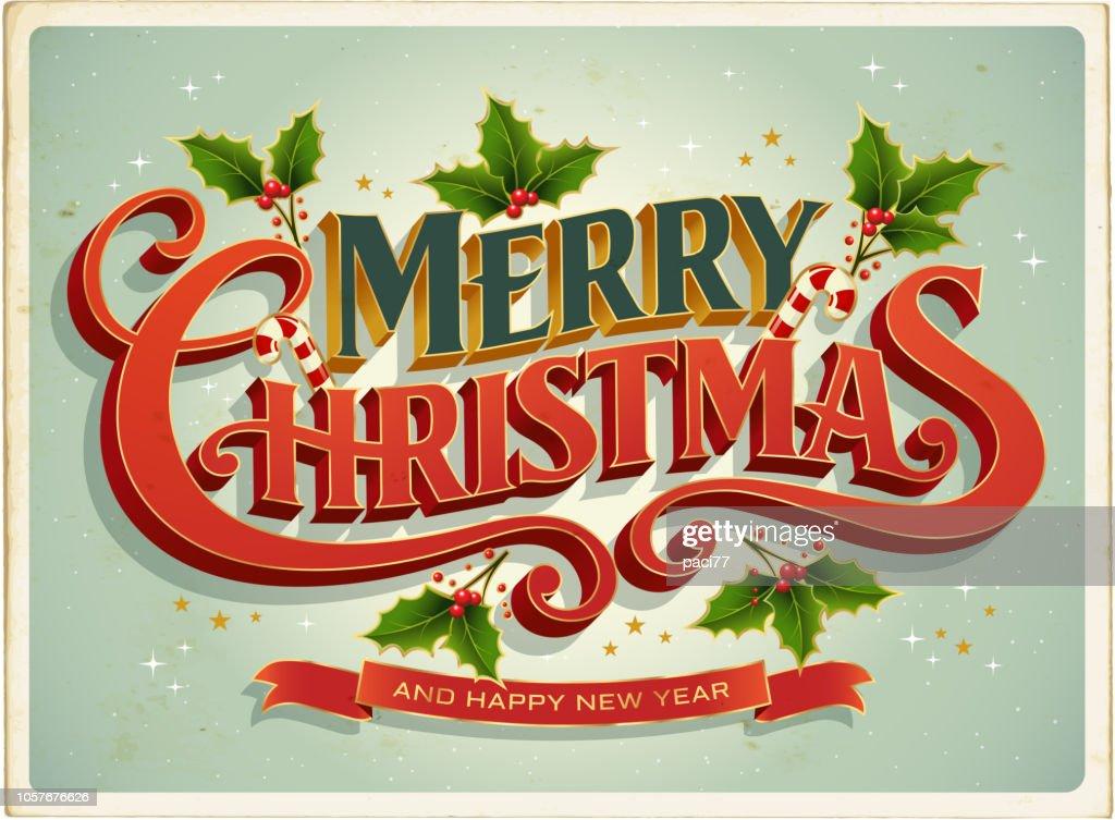 メリー クリスマスのレタリングとクリスマス カード Retrò : ストックイラストレーション