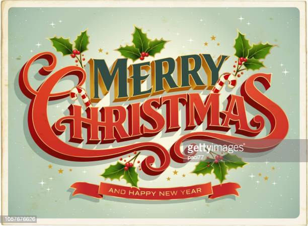 illustrazioni stock, clip art, cartoni animati e icone di tendenza di christmas card retrò with merry christmas lettering - testo