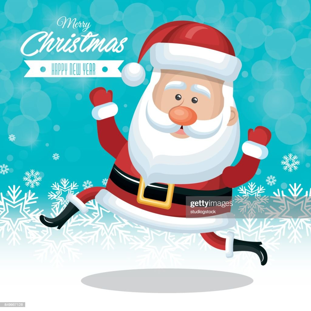 Christmas Card Santa Claus Funny Snow Design Vector Art | Getty Images