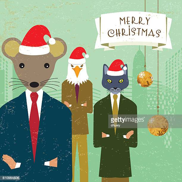 christmas card Santa team cat eagle mouse businessman banner