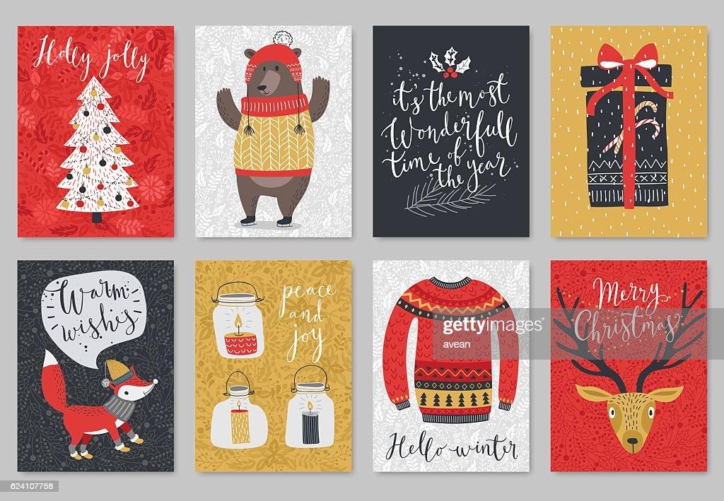 Christmas card set, hand drawn style.