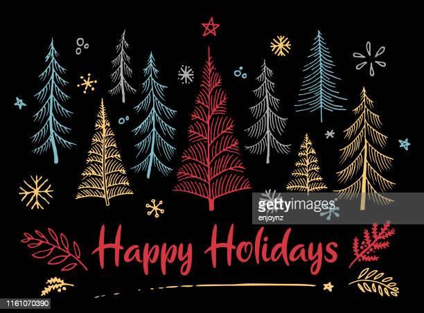 クリスマスカードスケッチ - クリスマスマーケット点のイラスト素材/クリップアート素材/マンガ素材/アイコン素材