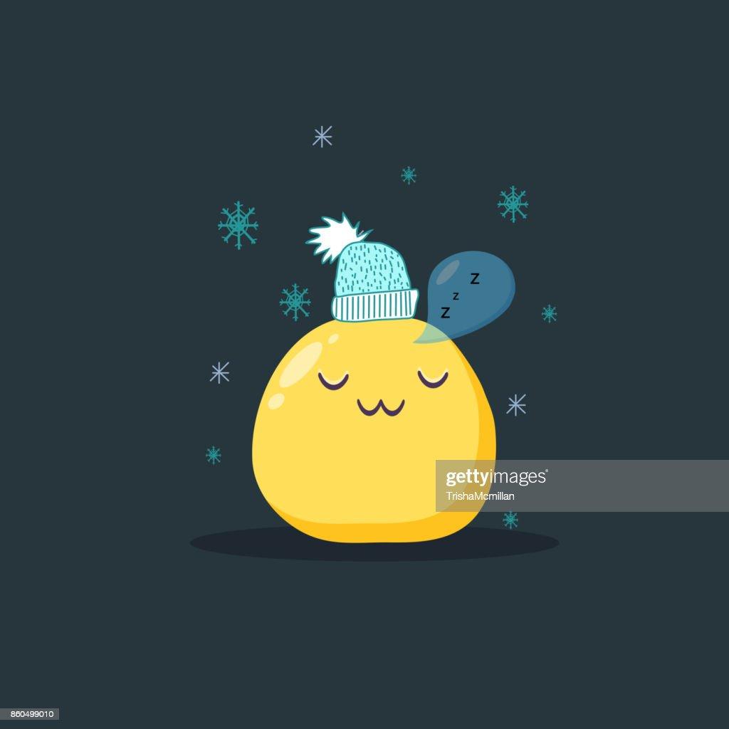 Christmas card. Sleeping emoji character. Vector flat style.
