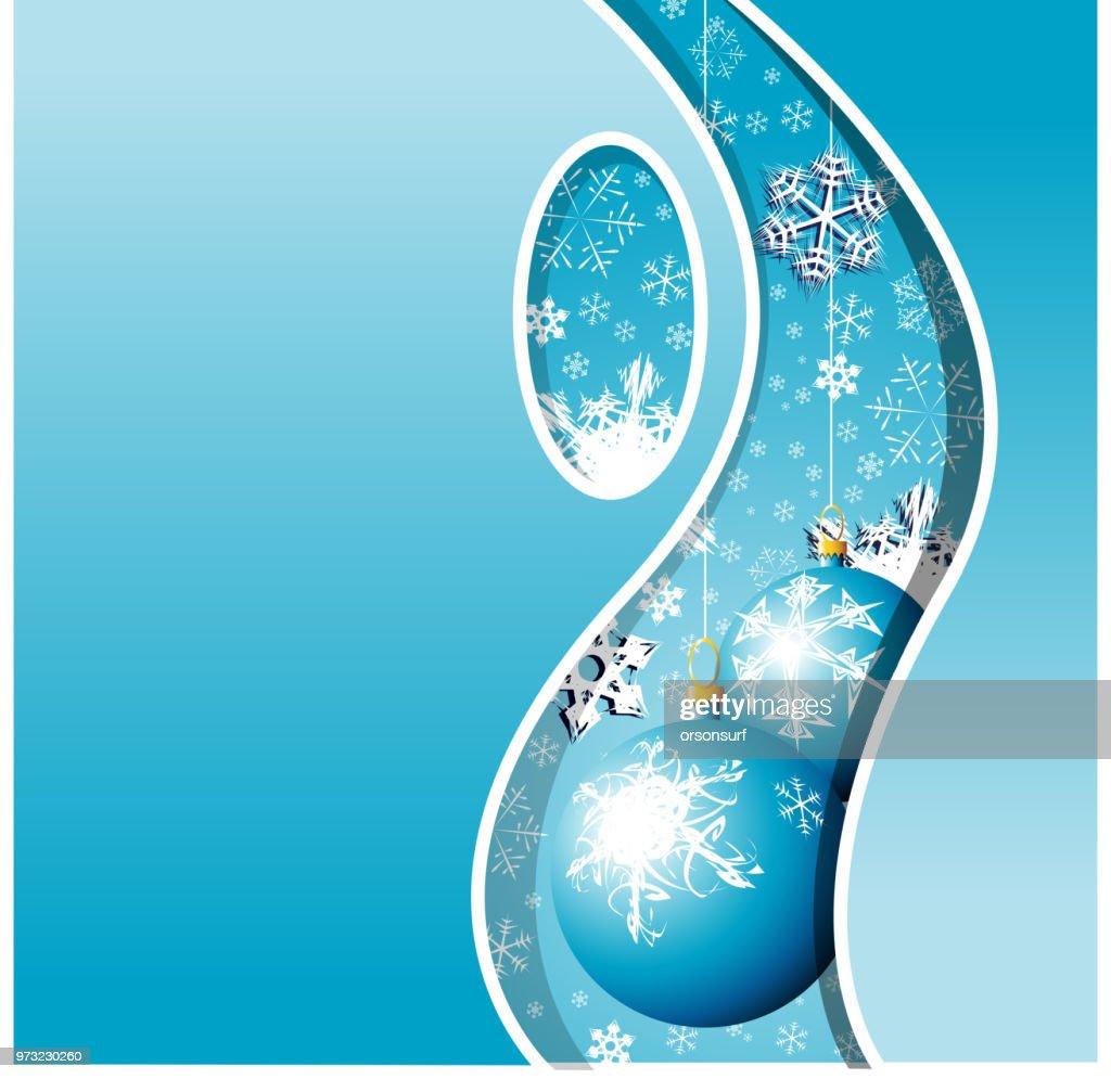 Christmas card - snowflakes and bulbs