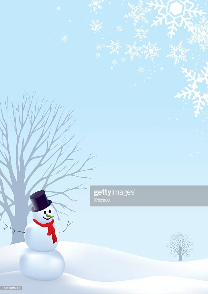Christmas Card Template Of Snowman In Winter Landscape Scene Vector ...
