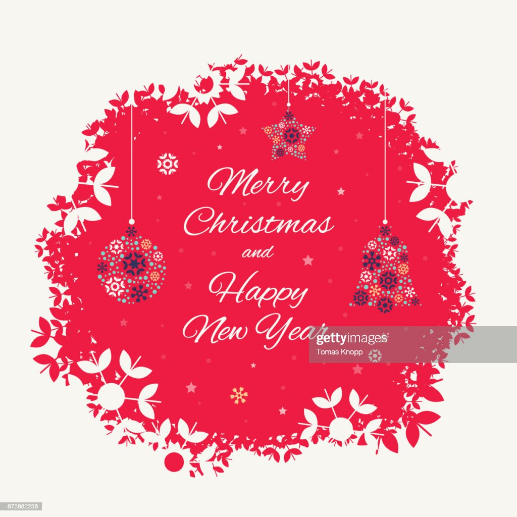 Christmas card template with christmas decorations