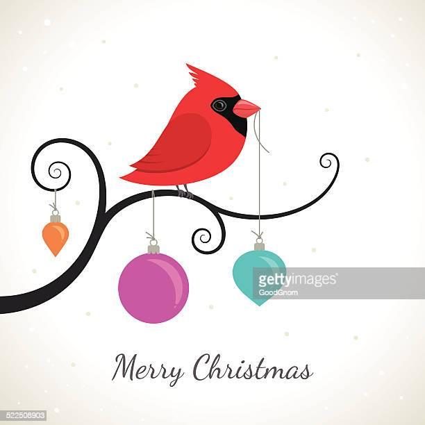 christmas card - cardinal bird stock illustrations, clip art, cartoons, & icons