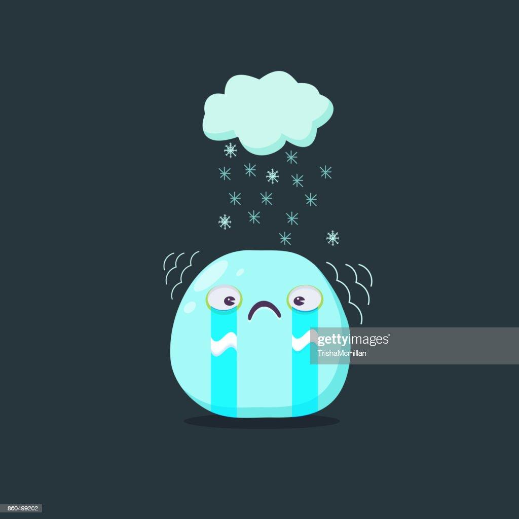 Christmas card. Weeping emoji character. Vector flat style.