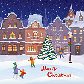 Christmas card with a town