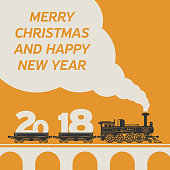 Christmas card with a vintage steam train