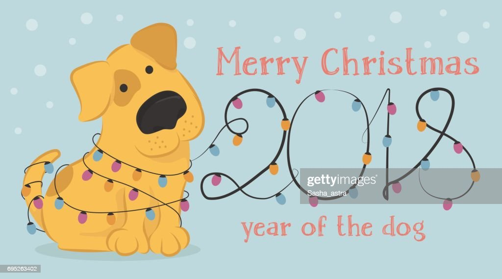 Christmas card with cartoon yellow dog and Christmas lights.