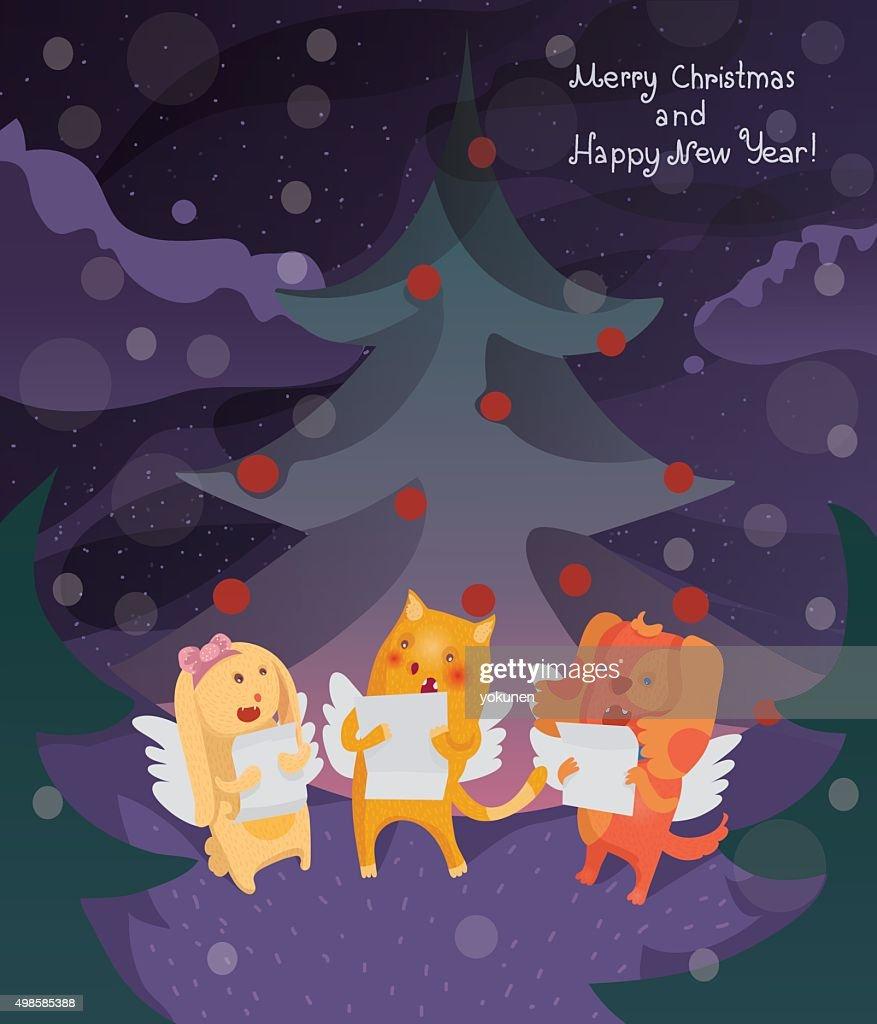 3eda6e7e2c0ba Christmas Card With Cat Dog And Bunny Singing Christmas Songs stock ...