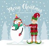 Christmas card with cute elf and snowman.