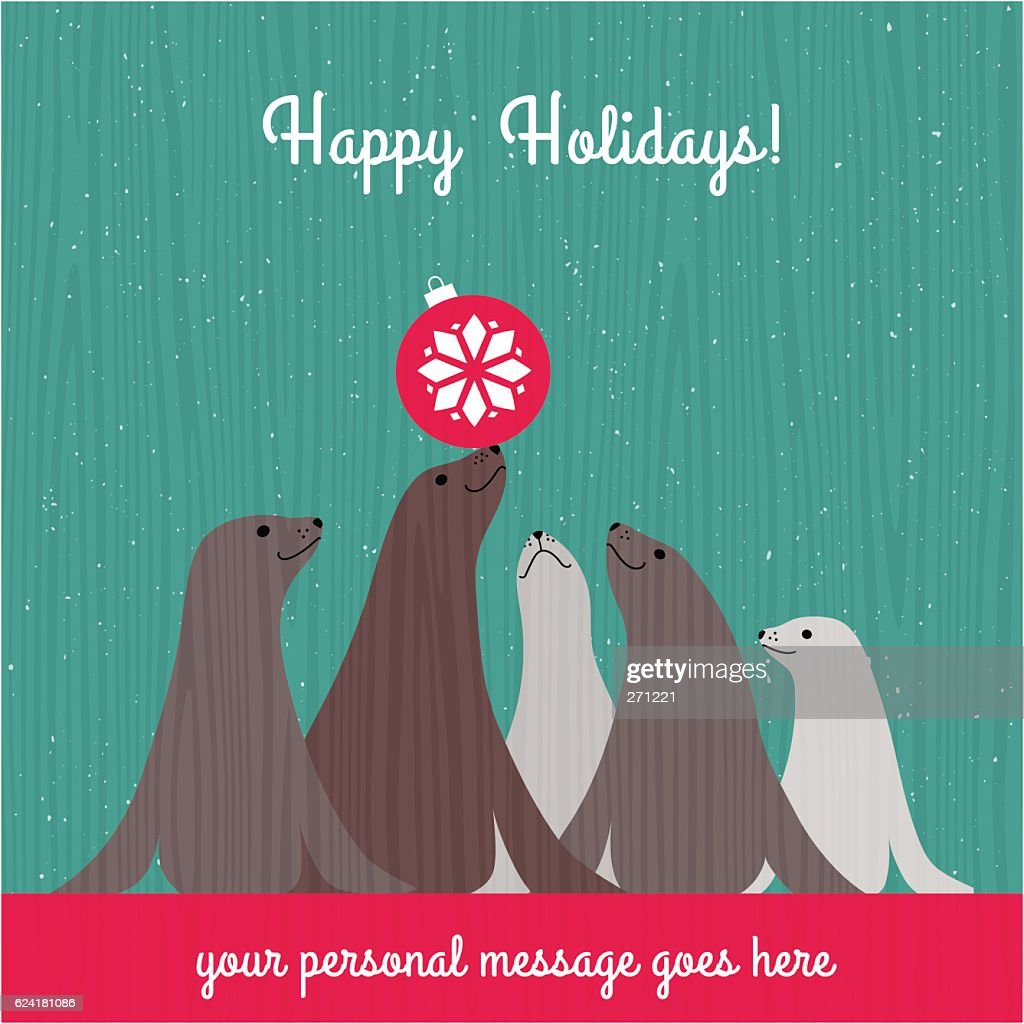 Christmas card with cute seals and space for your text