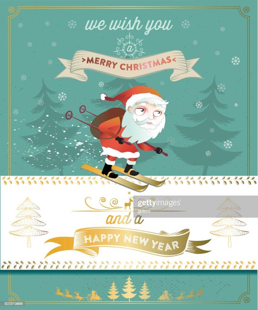 christmas card with cute skiing santa claus