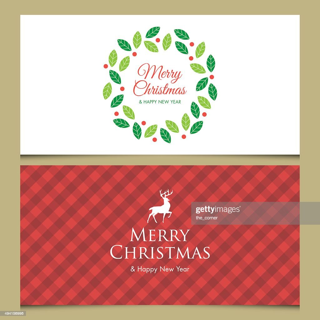 Christmas card with deer, logo title, gingham pattern and christmas wreath.