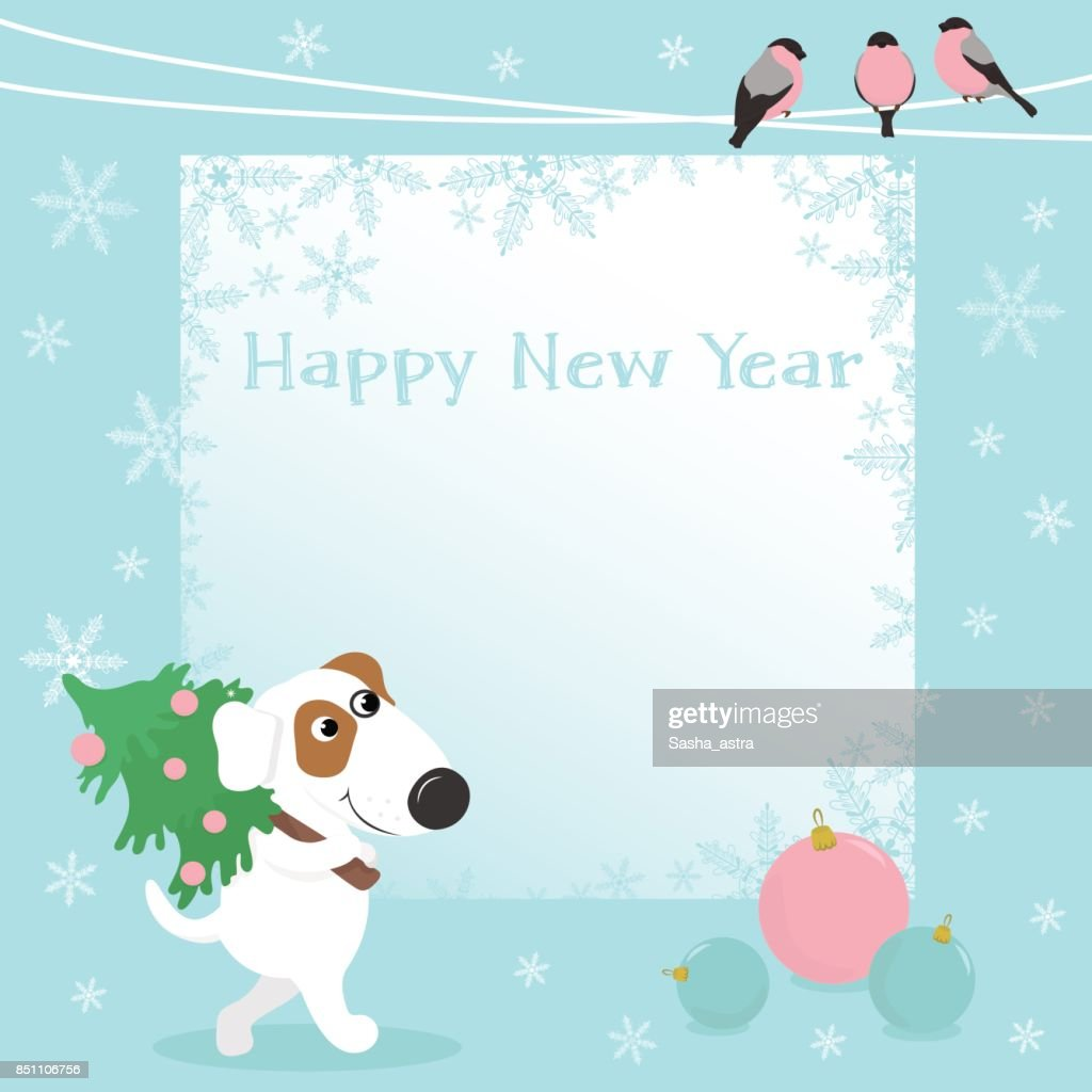 Christmas Card With Funny Dog And Christmas Balls Vector Art Getty