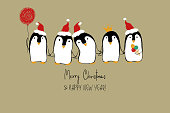 Christmas Card With Funny Penguins.