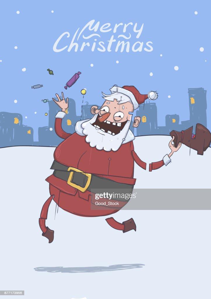 Christmas Card With Funny Smiling Santa Claus Santa Brings Gifts And ...