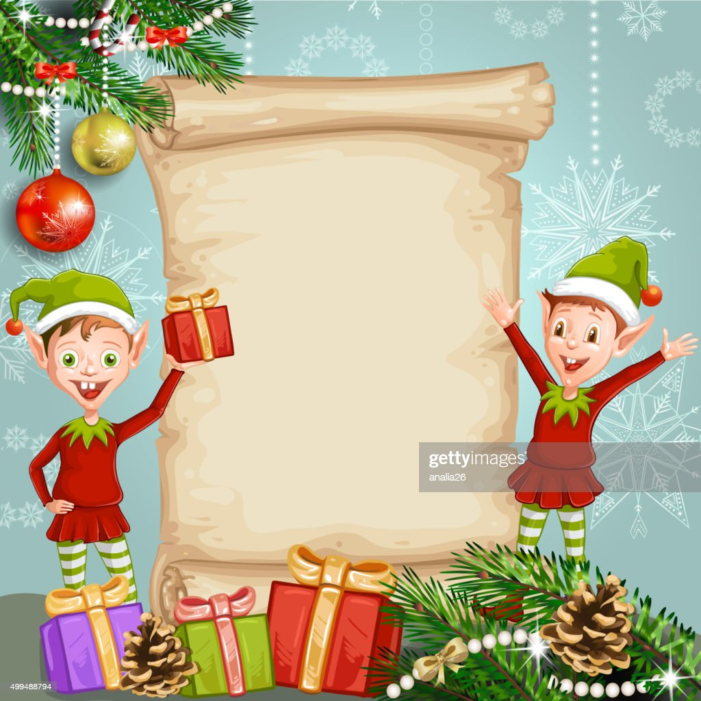 Christmas card with gifts and elves