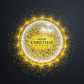Christmas card with golden glitter, sparkles, confetti