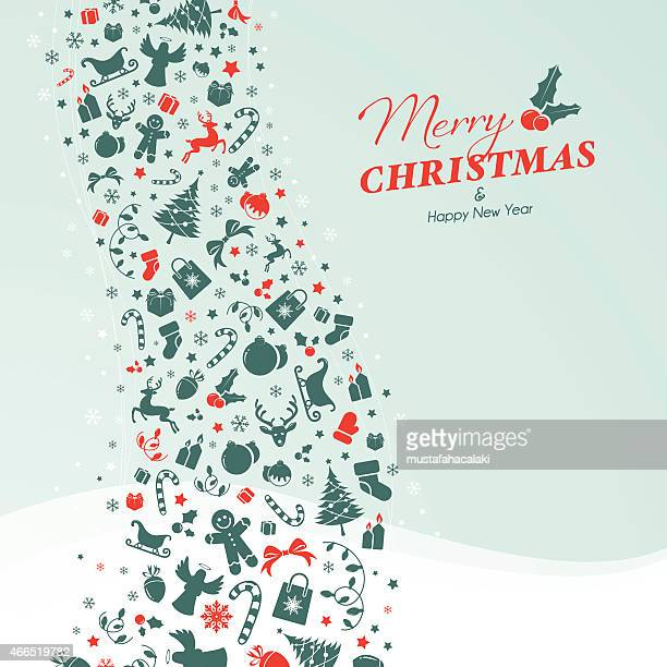 Christmas card with green red icons