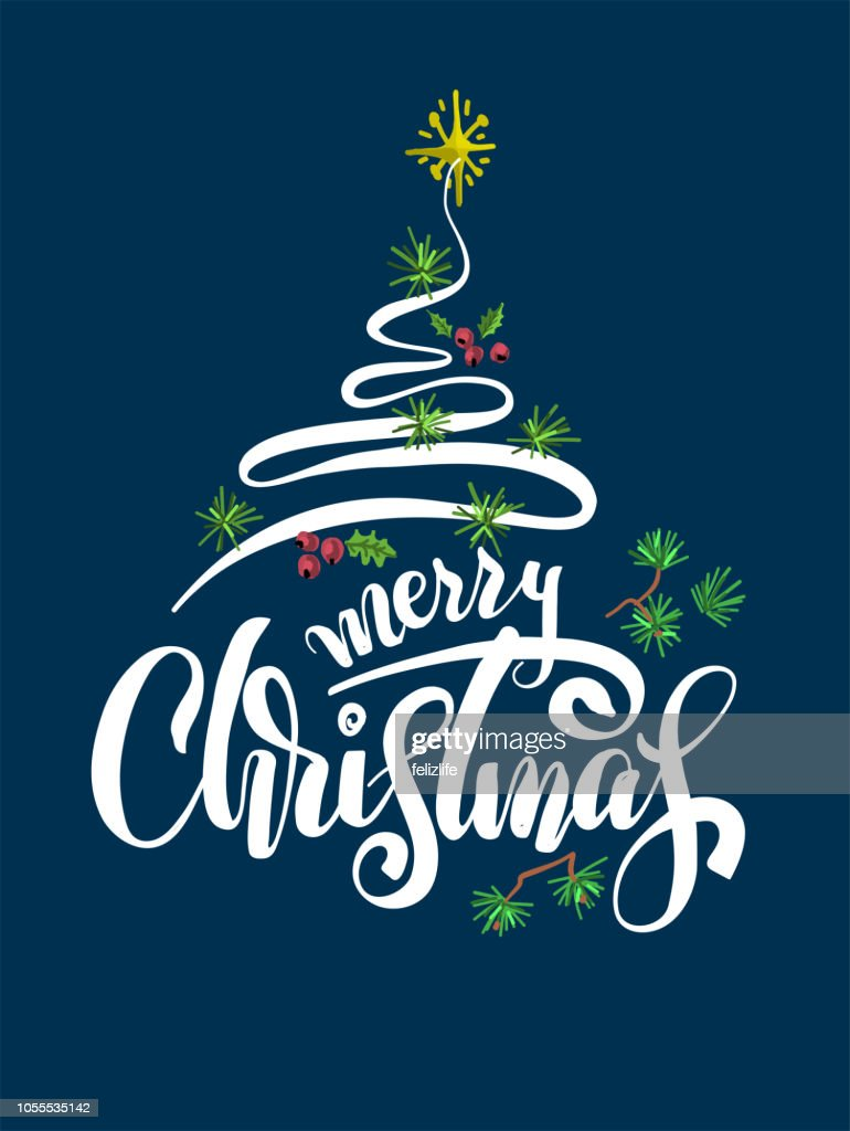 Christmas Card With Handdrawing Lettering Merry Christmas Vector Art ...