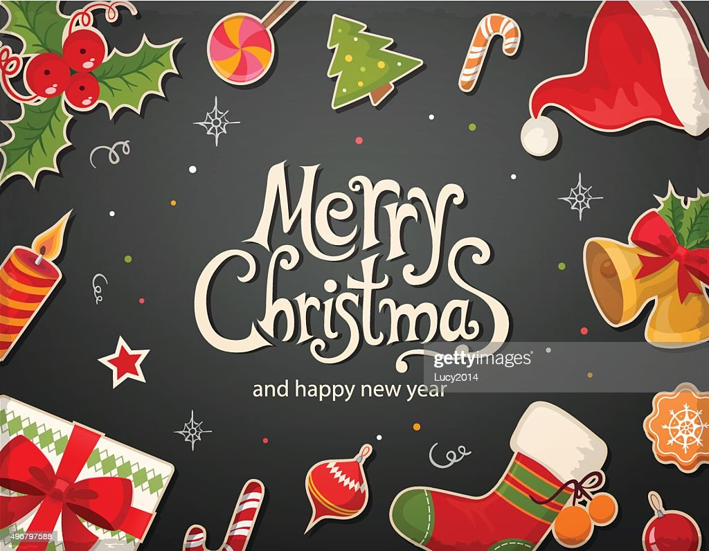 Christmas card with objects and text