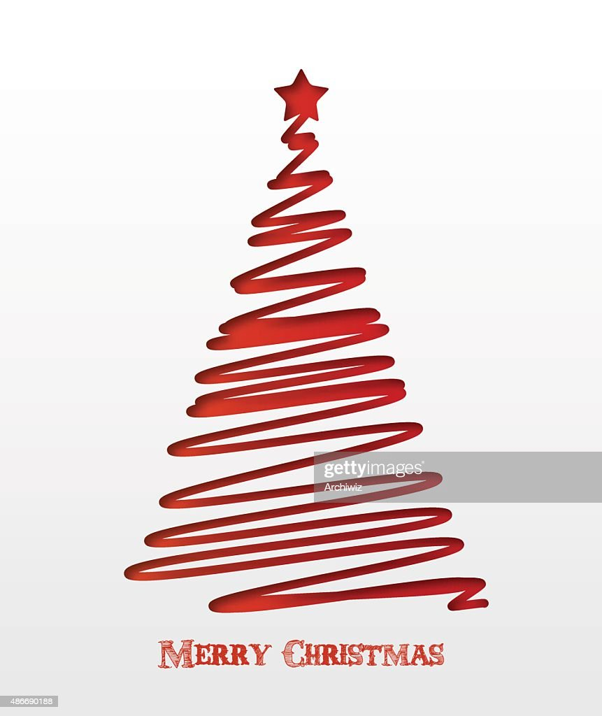 Christmas card with red christmas tree and star.