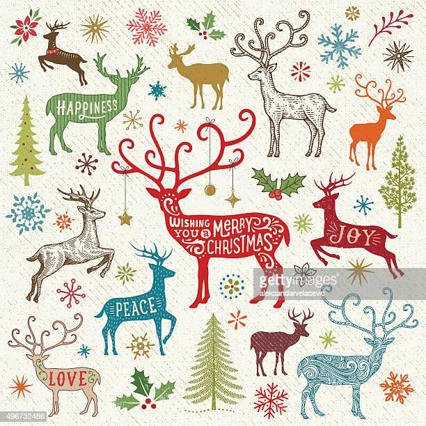 christmas card with reindeer - reindeer stock illustrations