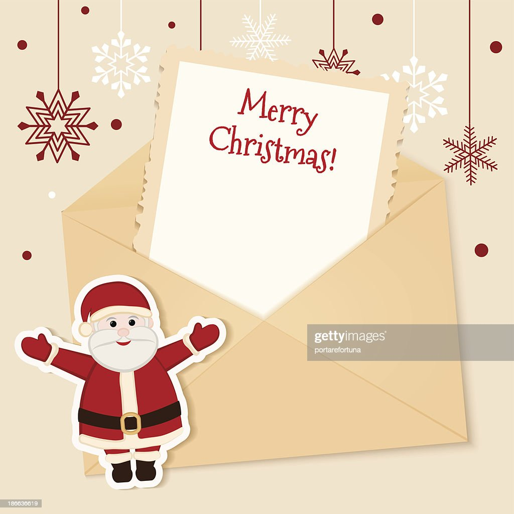 Christmas Card With Santa And Letter Vector Art | Getty Images