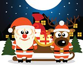 Christmas card with Santa Claus and deer