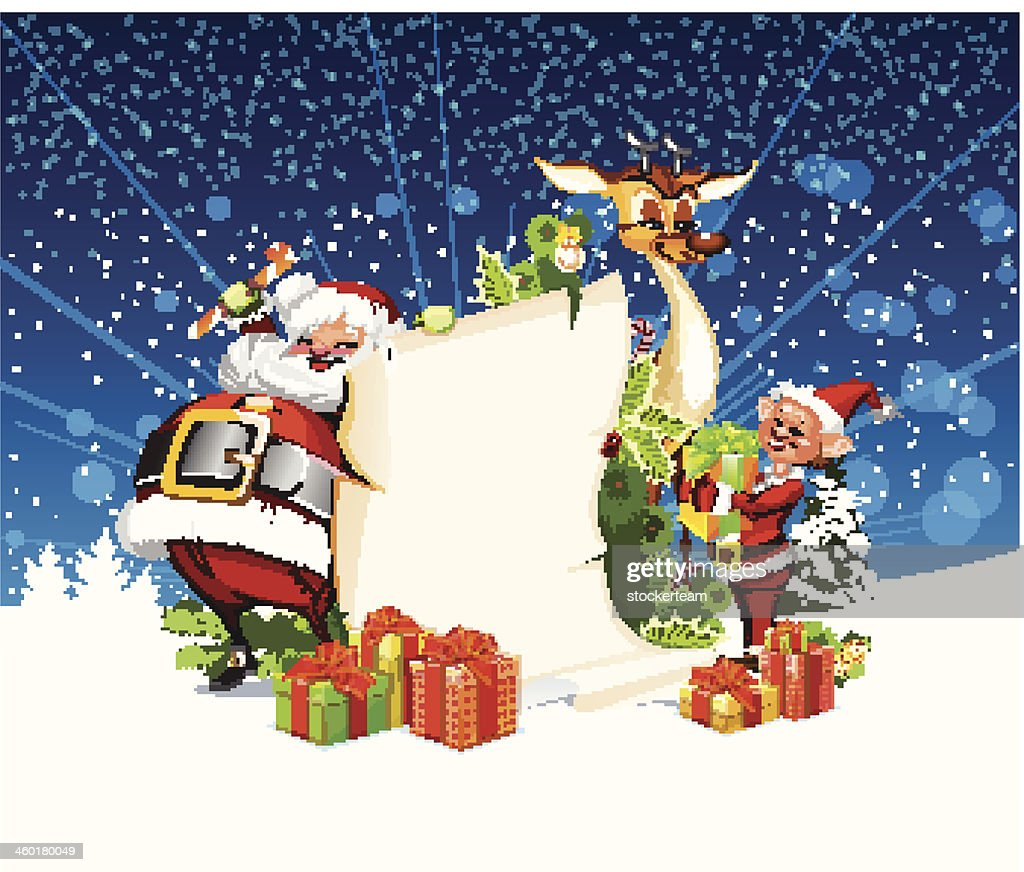 Christmas card with Santa Claus reindeer and elves
